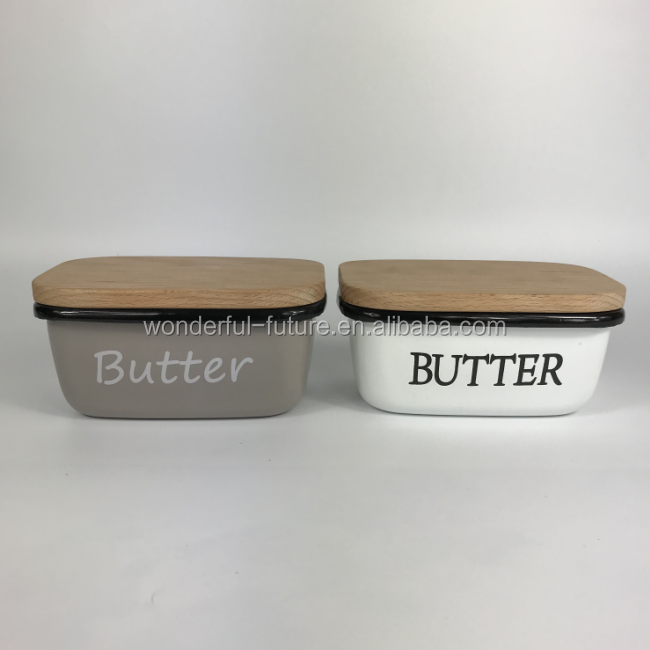 Rectangular Shape Grey Deep Cow Butter Dishes with Wooden Cover