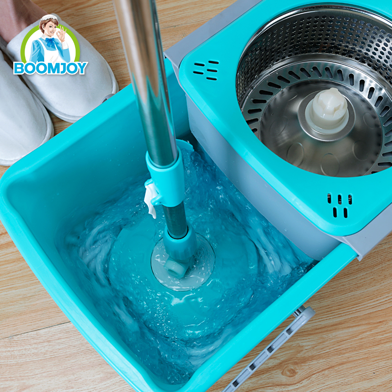 NEW 360 ROTATING STAINLESS STEEL HANDLE FOLDABLE DRAWER TYPE MAGIC MOP SPIN MOP