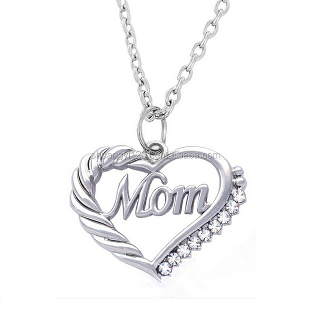New Fashion Family Crystal Love Heart mom Pendant Rhinestone Necklace Chain Charm