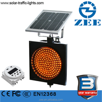 PC housing solar powered flashing beacon traffic light with road sign