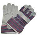 Brand MHR natural cow split leather stripped cotton back reinforced leather glove,leather working safety gloves