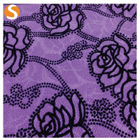 2016 New Design purple jacquard sequin flock printing fabric for woman garment