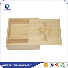 Custom logo unfinished wholesale small wood boxes with sliding lid