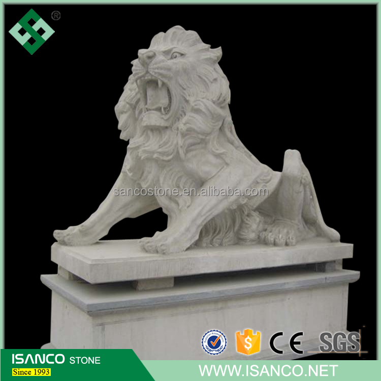White Marble Lion Statue , Standing Lion Statue , Life Size Chinese Animal Statue