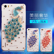 Crystal Hard Cover for Huawei Honor 6,For Honor 6 Cell Phone Peacock Diamond Case