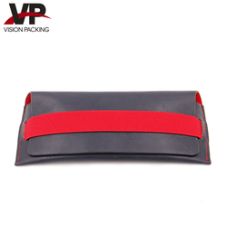 High quality long leather sunglasses case with elastic band
