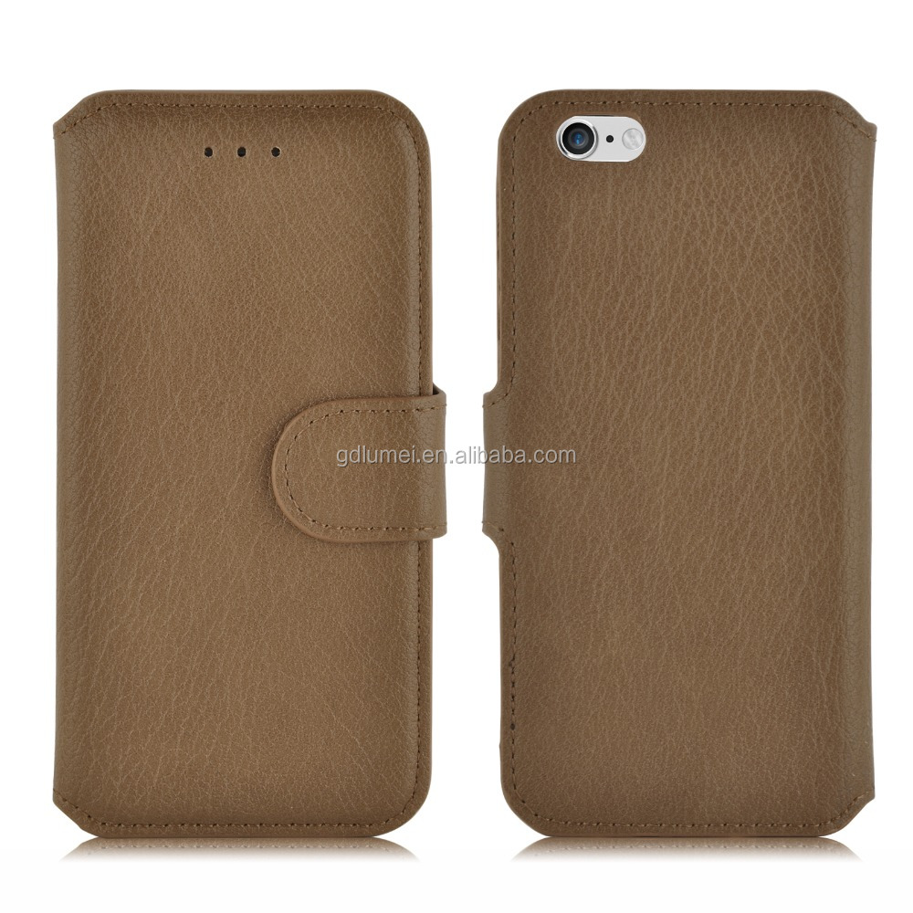 Premium PU wallet flip folio stand lychee grain leather case for iPhone 6 or 6 plus