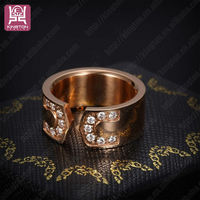 wholesale fashion gold name carved rings