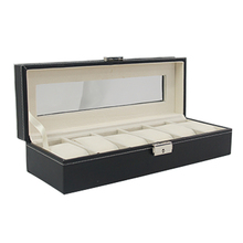 Watch Box 6 Mens Black Pu Leather Display PVC Top Jewelry Case Organizer