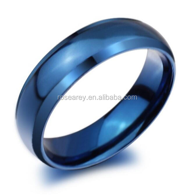 2017 new technology blue stainless steel men blank party rings