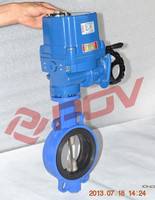 single acting Double flange electric actuator butterfly valve for chemical industry
