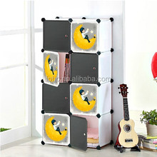 High quality creative wardrobe design 8 cubes baby plastic foldable wardrobe for sale