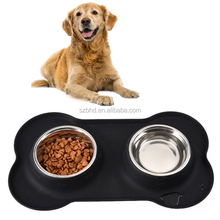 Dog Cat Bowl,Double Stainless Steel Pet Water , Food Feeder with Non-Spill Non-Slip Silicone Tray and Mat