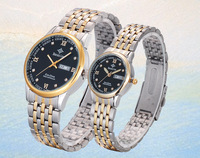 Full of gold and intergranular colors unisex couple lover wrist watches with two Calendar