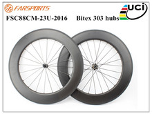 High Profile China Carbon Wheels 88mm depth road bicycle wheel , Bitex 303 striaght pull hubs and Sapim spokes weight 1855g
