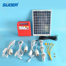 Suoer home solar energy system 3w led mini solar off grid light inverter solar power system with 2USB