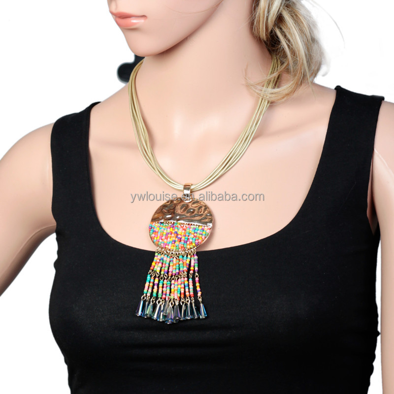 Boho Trendy Mixed Color Seed Beads Crystal Tassel Circle Alloy Pendant Cord Link Choker Necklace