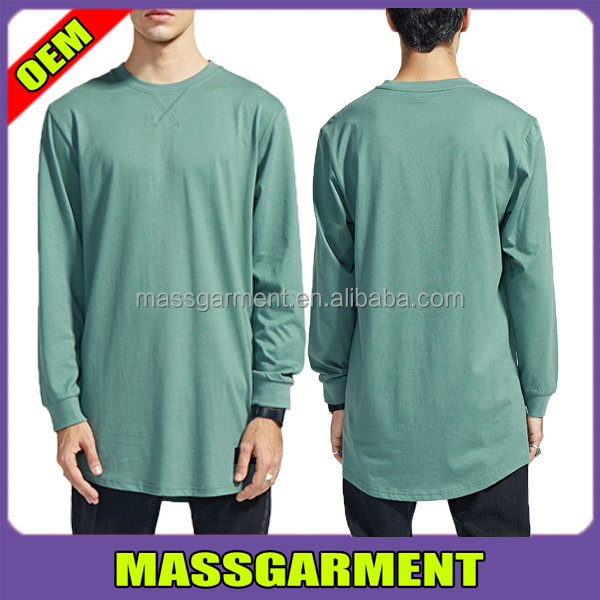 MS-1639 2017 Clothing Wholesale Mens Longline T Shirt Long Sleeve / Custom Extended T-shirts / Oversize Tall TShirts
