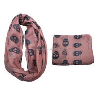 2015 Cheap Wholesale polyester women's skull pattern printed scarf