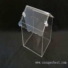 China wholesale clear acrylic donation box with lock and chain