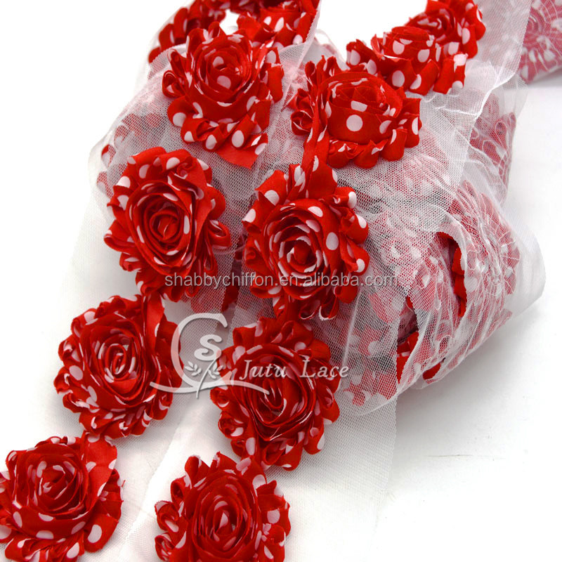 Wholesale decorative Shabby Flower trim By The Yards , Rosette Chiffon Fabric Flowers in printed polka-dots color