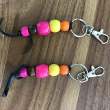 Wholesale Cheap Promotional Metal Lobster Clasps Wood Beads Keychain(CM90987)