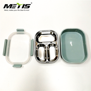 Metis A6071 Amazon Hot Seller Bento Box with Clip on Lid Leak Proof 3 Compartment Lunch Box