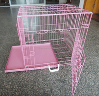 Folding Wire Dog Cage ,High Quality ,Pink Dog Cage