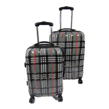 Plaid Pattern Abs Pc Travelling Bags Luggage With Aircraft Wheels