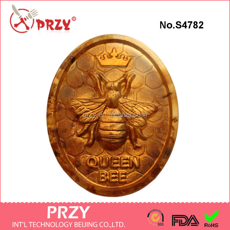 S4782 Queen Bee Soap Mold , Oval Honey Bee Silicone Soap Mold, FDA silicone mold for soap
