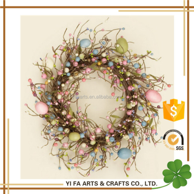 Easter eggs decoration wreath with pip berry