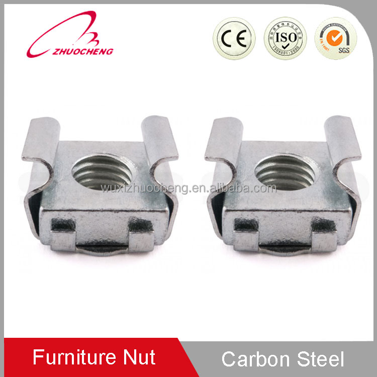 China Factory Customized Yellow zinc plated carbon steel auto spring clip speed square M4 cage nut for furniture