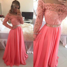 Coral Colour Sheer Top Neck Beaded Long Sleeve Prom Dresses 2015 Appliques Beading Waist Formal Dresses on Party