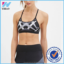 Yoga wear active bra with support strappy back, girls sexy sports and yoga bra digital printing yoga bra