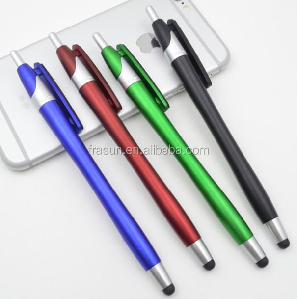 plastic ballpoint pen with mop topper touch stylus pen plastic ball pen with clean screen function