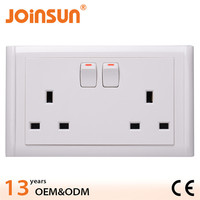 Zhongshan double UK socket with switch CE 13 amp multi-function switch and socket