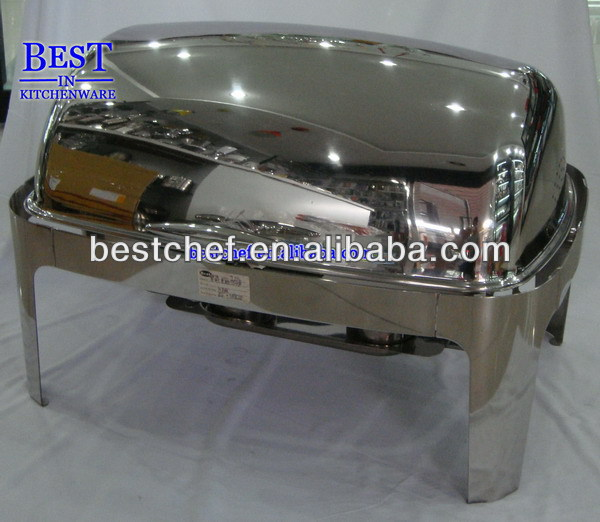 Luxe stainless steel Oblong roll-top chafing dish