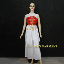 Custom Made Female Or Children Dancing Clothing With Dress Top and Pants In Chiffon Fabric,Asian Modern Dancing Heporen Garment