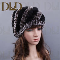 2015 Colorful winter knitted rabbit fur hat