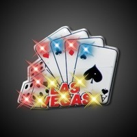 Las Vegas Cards and Dice Flashing Blinking Light Up Body Lights Pins