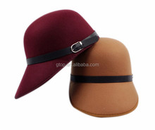 wholesale fashion womens wool felt horseman visor hat