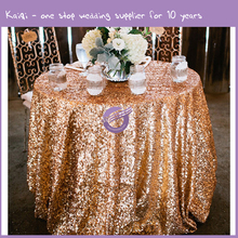 "TX28043 wedding 132"" round gold metallic sequin embroidery table cloth"