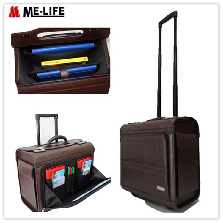 Leather Pilot Case Trolley Suitcase Luggage