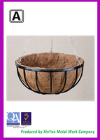 Wrought iron hanging basket Hanging wire plant baskets with hook and coco liner BH090010