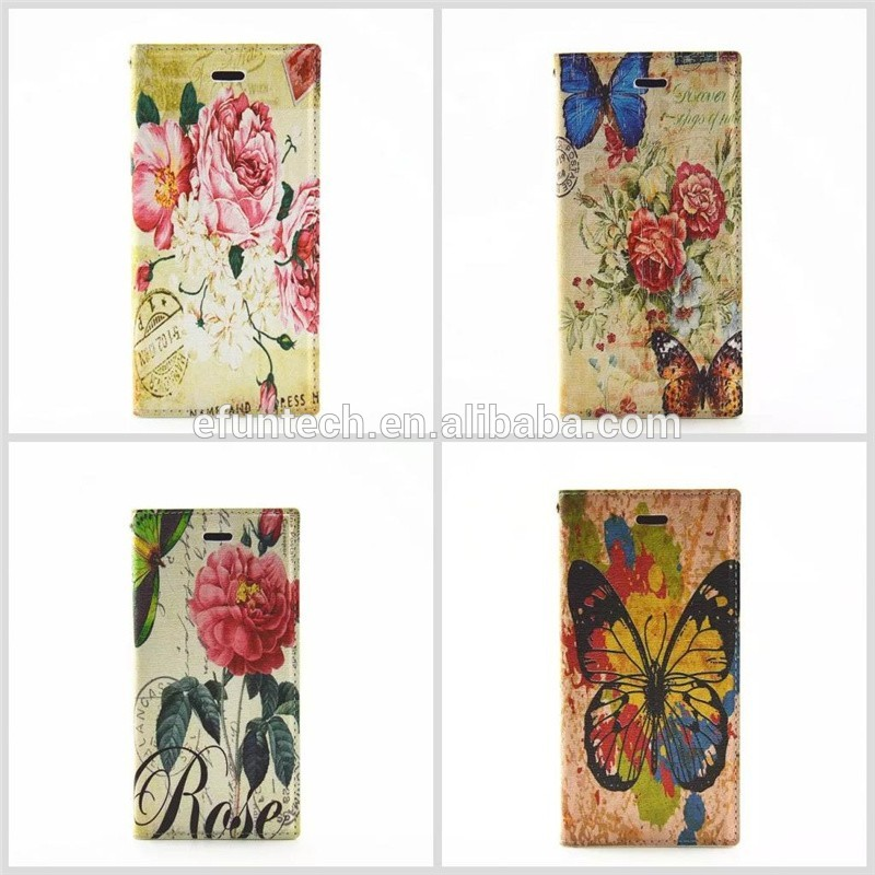 Factory OEM classic image PU leather wallet flip phone cover For iphone SE 5S 5