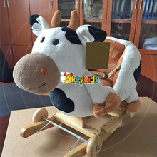 2016 wholesale wooden rocking horse toys for girls, new design cow wooden rocking horse toys for girls W16D106