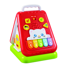 Electronic plastic mini kids house toy with music and light