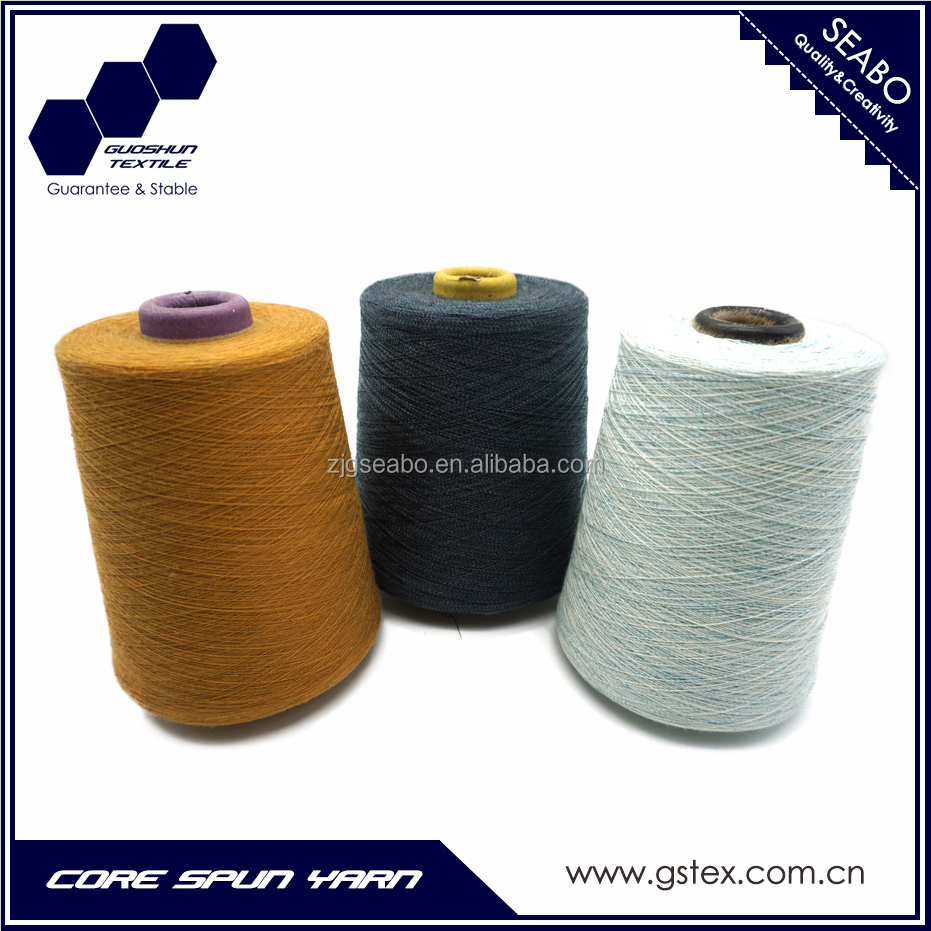 Cotton/Polyester/TR Spandex Core spun yarn for Denim