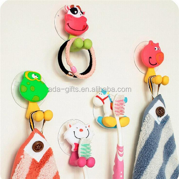 Lovely Cartoon Absorption Wall Hook Silicone Rubber Toothbrush Holder