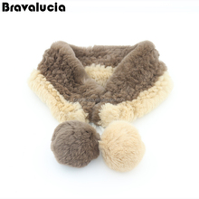 2017 new design soft knitted rex rabbit fur scarf for women wholesale